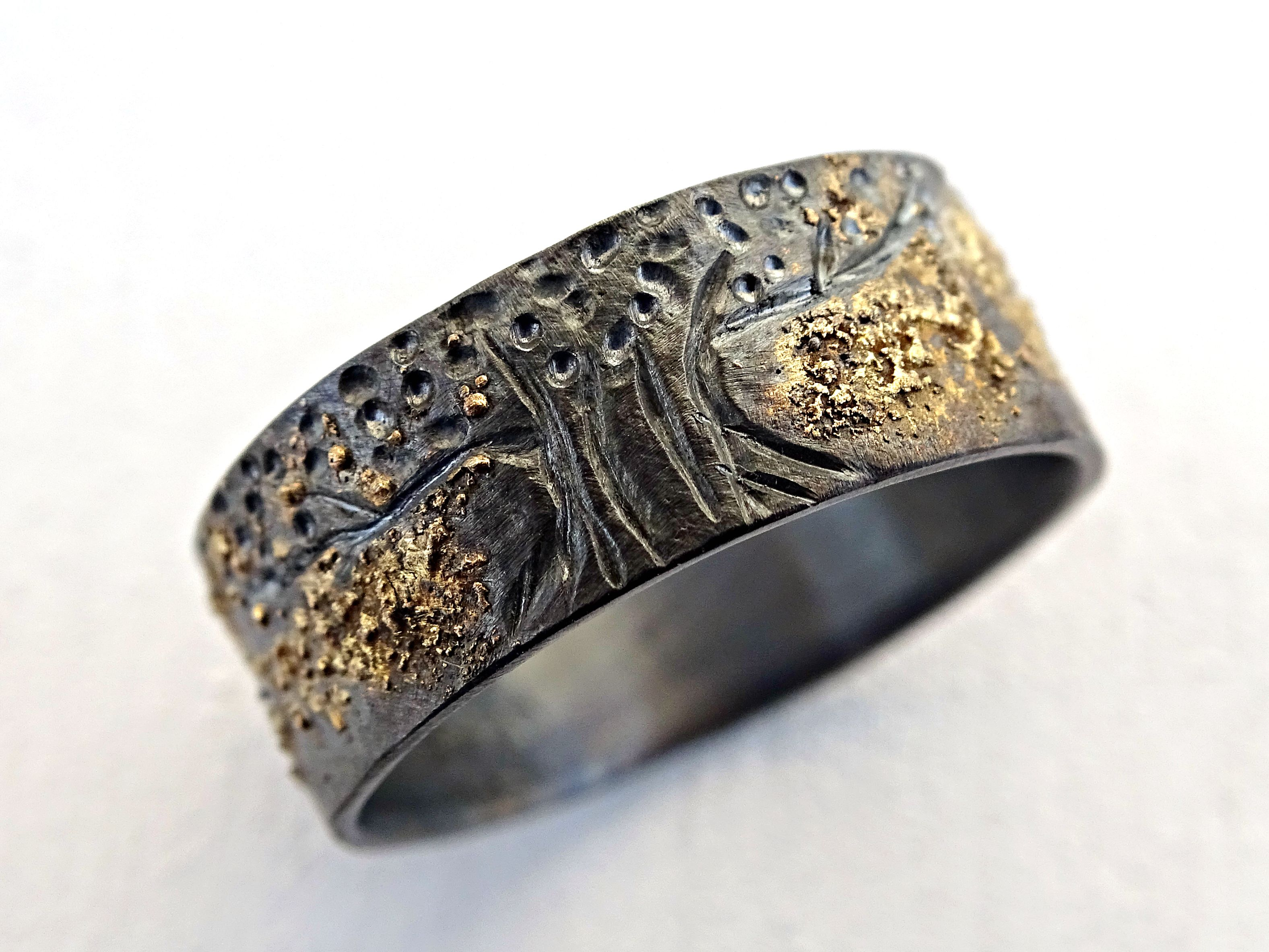Custom Made Celtic Wedding Band Tree Of Life Ring Black Silver 14k Gold Unique