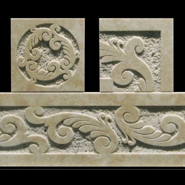 Carved Travertine Tile Border