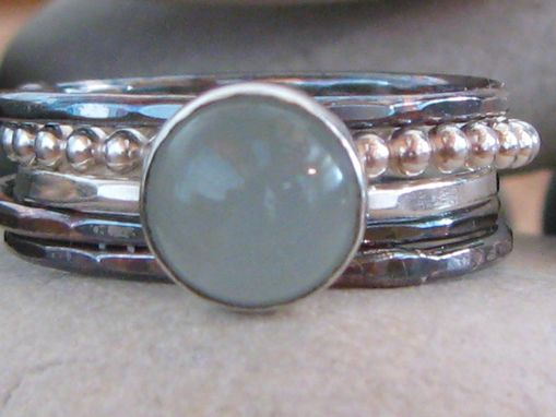 Custom Made Aquamarine, Palladium, 14k White Gold Stacking Ring Set Or Fused Single Ring