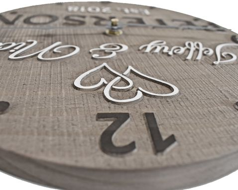 "Custom Made 11"" Personalized Wooden Anniversary Clock For Married Couple."