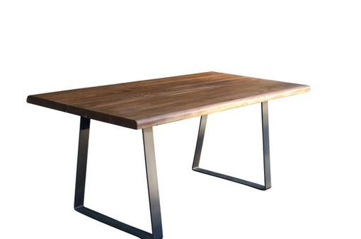 Custom Made The Chase Live Edge Walnut Dining Table With Modern Trapezoid Steel Legs