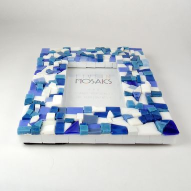 Custom Made Blue Mosaic Picture Frame