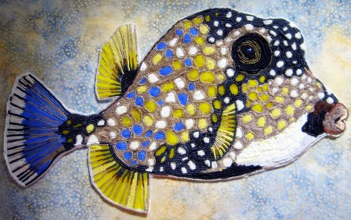 Custom Made Seed Bead Embroidered Trunk Fish