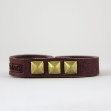 Custom Made Double Ring With Brown Leather And Brass Rivets