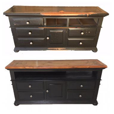 Custom Made Refinished/Refurbished Dresser Converted To A Entertainment Console