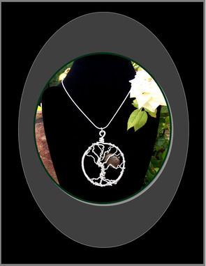"Custom Made Silver & Natural Stone, Moon Through The Trees,Tree Of Life Pendant Necklace, Custom Designed & Made By Me. Artistic ""Statement Jewelry"""