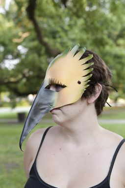 Custom Made Yellow Warbler - Leather Bird Mask