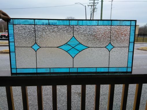 Custom Made Blue Diamonds-Stained Glass Panel(P-166)