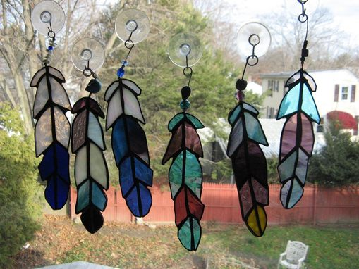 Custom Made Beaded Stained Glass Eagle Feather