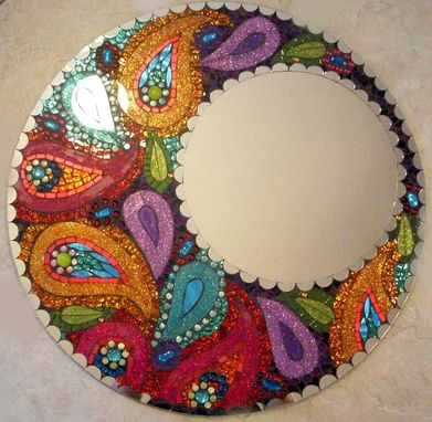 "Custom Made Paisley 24"" Stained Glass Mosaic Mirror"
