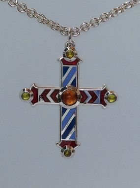 Custom Made Medieval Champleve Enameled Cross