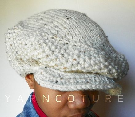 Custom Made Roo-Dee The Oversized Knit Newsie / Jeff Cap - Linen Tweed