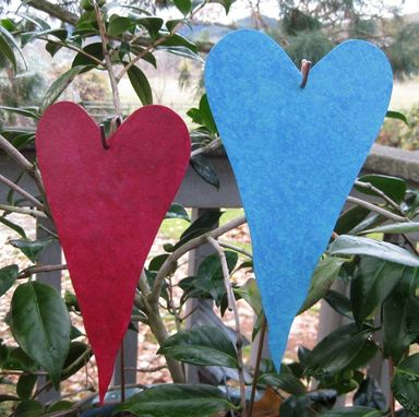 Custom Made Handmade Upcycled Metal Heart Garden Stakes In Rose And Turquoise