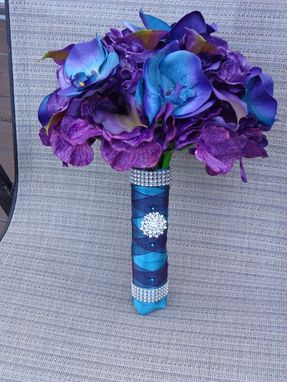 Custom Made Jen's Royal Passion Real Touch Orchid, Calla Lily And Hydrangea Wedding  Bouquet