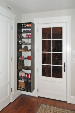 Custom Made Blackened Steel Mudroom Shelving