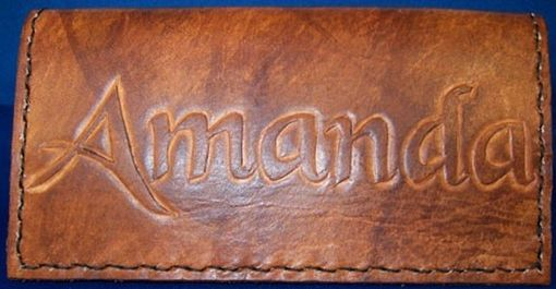 Custom Made Custom Leather Checkbook Cover With Personalization And In Weathered Color