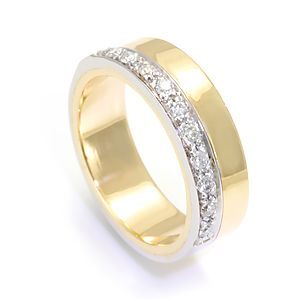 Custom Made Pave Set Round Diamonds In 14k White And Yellow Gold Band, Wedding Band, Ladies Band