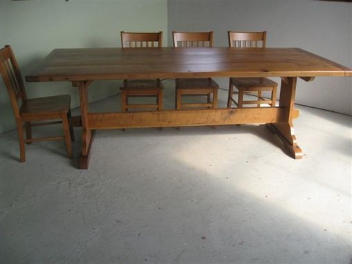Custom Made Original Trestle Table Shown With Chairs