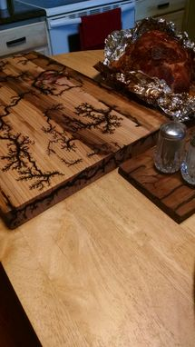 Custom Made Charcuterie Cheese Sushi Or Cold Cut Serving Board Lichtenberg Burned Design,