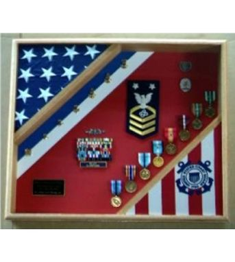 Custom Made United States Coast Guard Flag Display Case,Coast Guard Gift