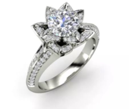 Buy a custom lotus flower engagement ring made to order from on lotus flower engagement ring junglespirit Choice Image