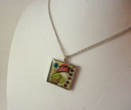 Custom Made Crystal Purple And Green Hummingbird Resin Necklace In Silver Square Bezel, Ooak