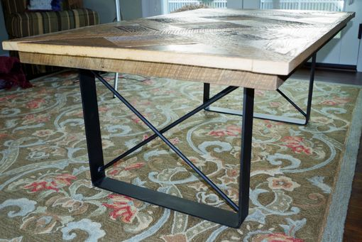 Custom Made Rustic Parquet Coffee Table, Oak With Metal Legs