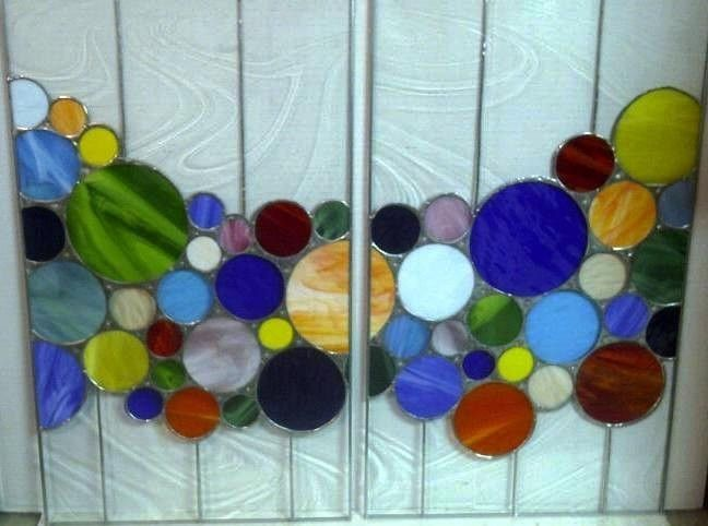 Custom Made Stained Gl Cabinet Inserts Bright Bubbles Ci 1