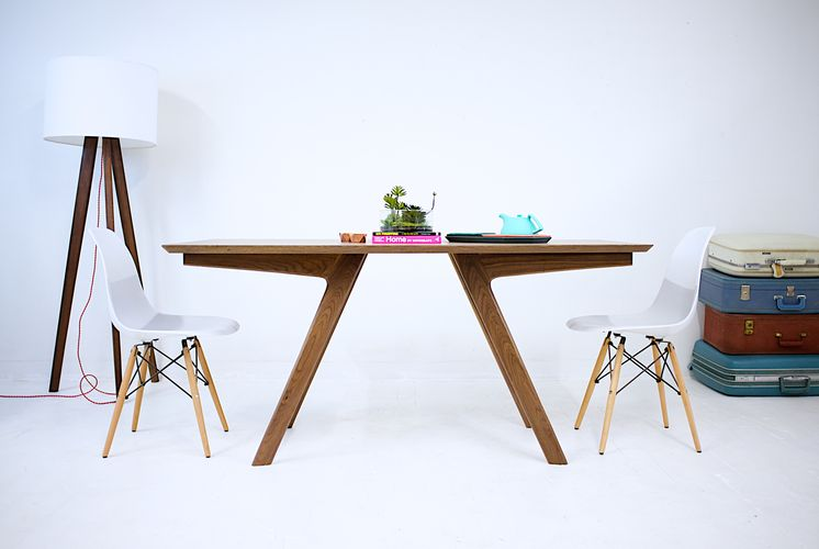 Hand Crafted The Boomerang Mid Century Modern Solid Walnut Dining - Mid century square dining table