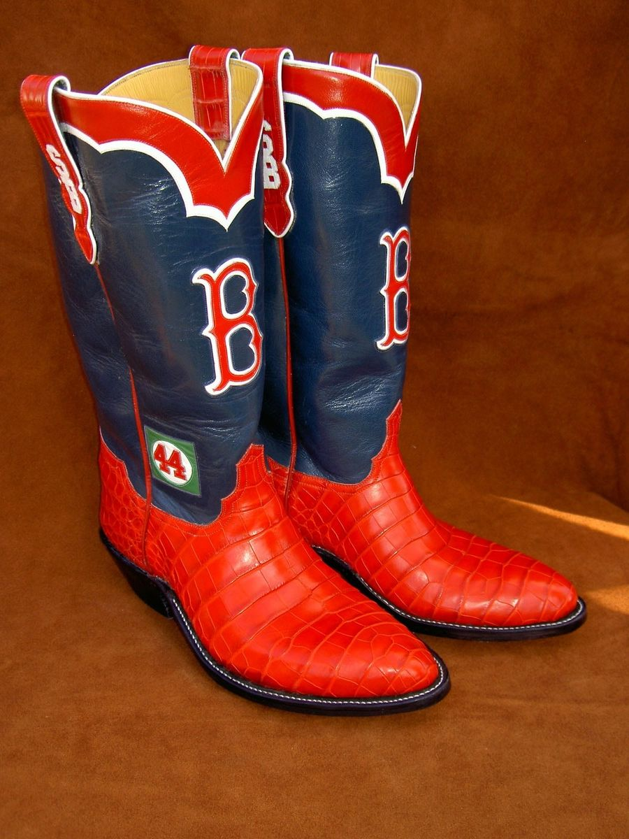 hand made boston red sox boots w alligator lowers by. Black Bedroom Furniture Sets. Home Design Ideas