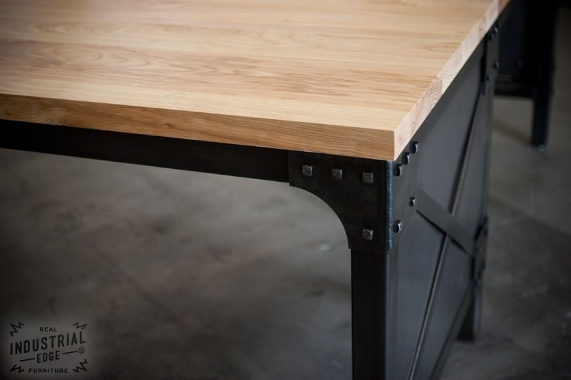 Lovely Hand Crafted Modern L Shaped Ash Top And Steel Desk, Wood Top  ZQ31