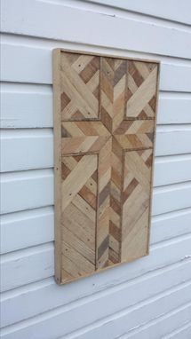 Custom Made Large Rustic Reclaimed Lath Cross Wall Hanging With Chevron Pattern