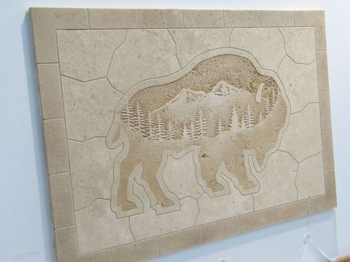 Custom Made Etched Tile Travertine Buffalo Mural