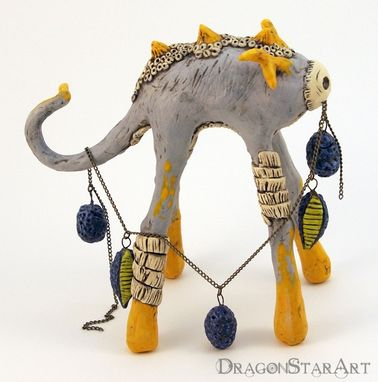 Custom Made Tall Yellow Dragon Sculpture
