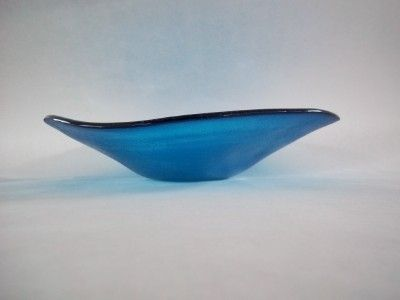 Custom Made Ocean Wave Organic Fused Glass Bowl
