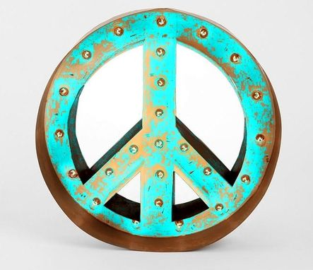Custom Made Large Huge Movie Vintage Marquee Art Fully Outdoor Peace Sign Channel 35x35 Custom