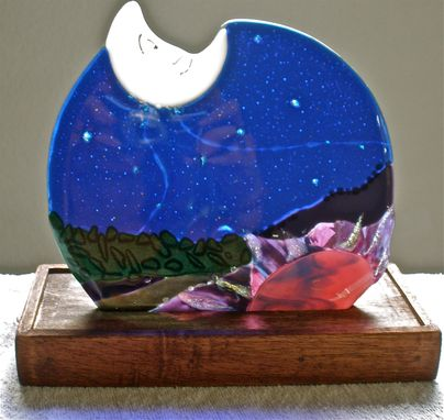 Custom Made Fused Glass Night Sculptures With Accent Light