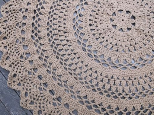 "Custom Made Large Round Crochet Cotton Doily Rug In 60"" Circle Lacy Pattern Non Skid"