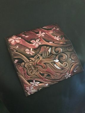 Custom Made Hand Tooled Japanese Demon And Cherry Blossom Long Wallet