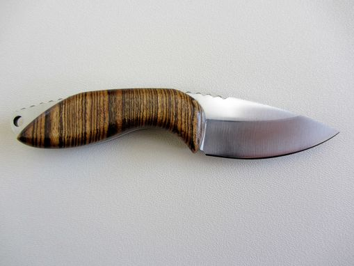 Custom Made Skinner Knife - Bocote Wood Handle - Stainless Steel Blade - Black Leather Sheath