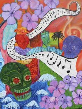 "Custom Made ""Friend Of The Devil"" Dead Sheet Music- Psychedelic Abstract- 11x14 'Día De Muertos'"