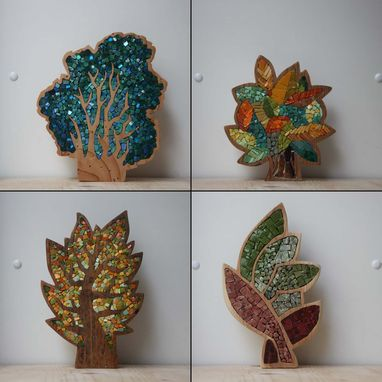 Custom Made Mosaic Wood Trees