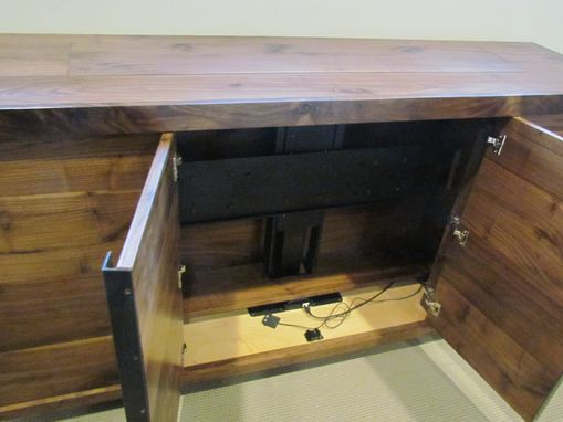Custom Made Solid Walnut Tv Lift Cabinet