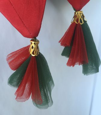 Custom Made Red & Green Net Fabric With Gold Metal Cap.L-3' ,W-2'.