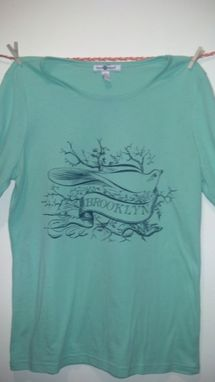 Custom Made Sale Birds Of A Feather, Woman's Large Mint And Blue One Of A Kind Brooklyn Shirt, Ready To Ship