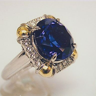 Custom Made Ladies Diamond And Tanzanite Statement Ring