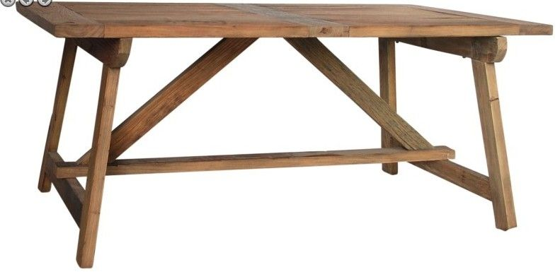 custom made old wood sawhorse dining table by mortise