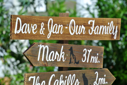 Custom Made Our Family Rustic Directional Location Sign, Parents Gift Idea