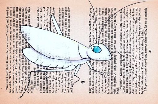 Custom Made White Chinese Cricket On Vintage African Novel Page