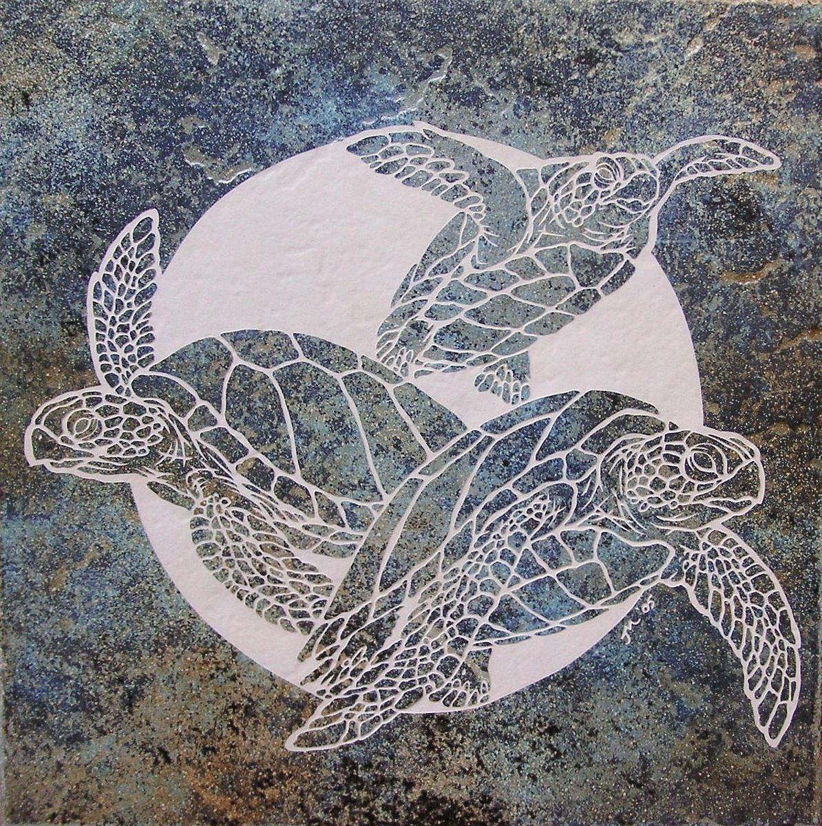Custom Green Sea Turtle Medallion By Tile Goddess